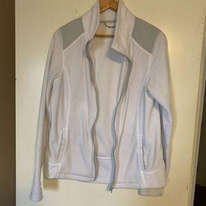 White fleece zip up